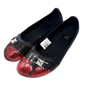 Puma Sabadella Sequin Red and Black Flats Sz 8